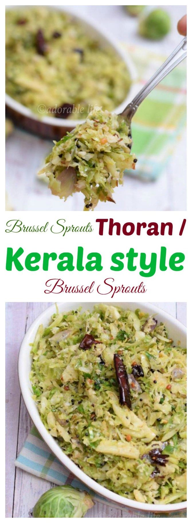 brussel sprouts thoran / Kerala Style stir fried Brussel Sprouts with Crushed Coconut