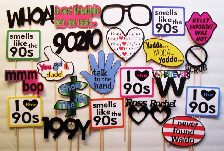 22 Piece I Love the 90s Photobooth Props - Photo Booth Glasses - 1990s Phrases - 90s TV - 90's Movies by SweetLolliProps on Etsy https://www.etsy.com/listing/245184107/22-piece-i-love-the-90s-photobooth-props