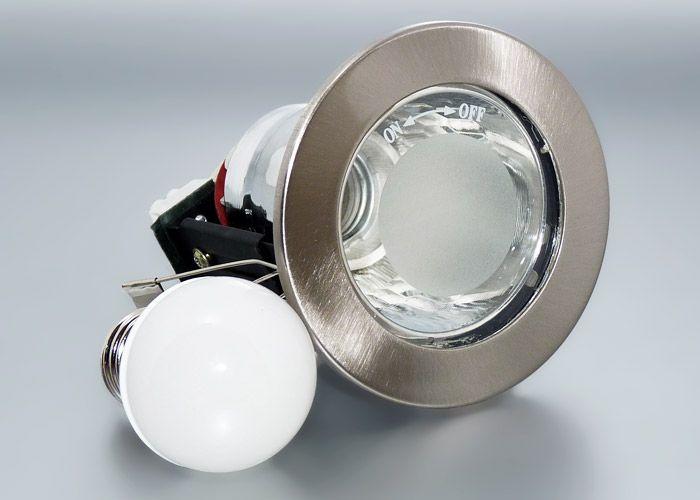 E27 LED Einbaustrahler Set Mit Marken Birne Nextec 6 Watt Metall Schnellverschluss Chrom Geburstet