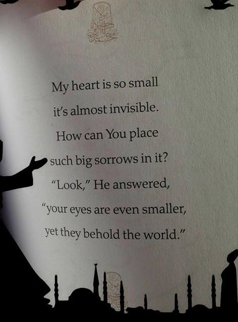 """""""My heart is so small it's almost invisible. How can You place  such big sorrows in it? 'Look,' He answered, 'your eyes are even smaller, yet they behold the world.'""""  -Rumi"""