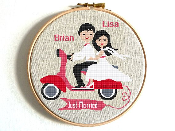 Wedding Cross Stitch Pattern, Just Married Funny Wedding Gift DIY Gift Personalized Embroidery Chart Motorcycle Scooterbike Married Counted
