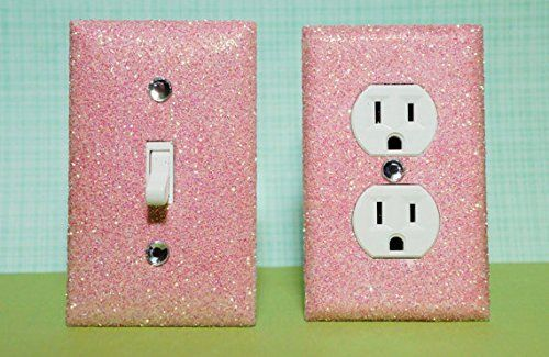 GIRL'S ROOM / BEDROOM DÉCOR: ***************************************************************************************************** SET OF LIGHT PINK Glitter Switch Plate Outlet Covers ALL Styles Available! ***************************************************************************************************** ://www.amazon.com/dp/B00NKW5H8U/ref=cm_sw_r_pi_awdm_bp5gub0MY6N55