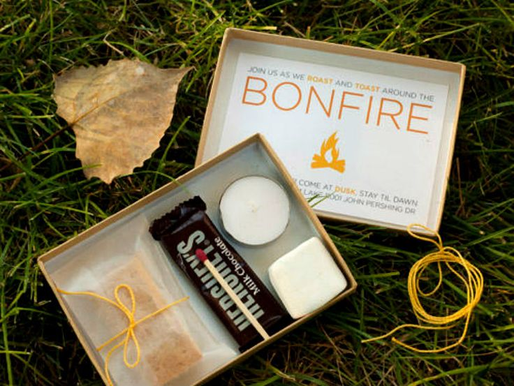 Invite your friends to a bonfire party with DIY s'mores kits.