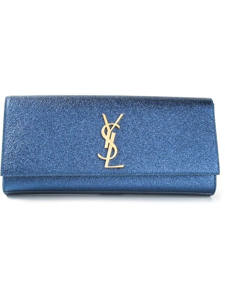 AW2015 YSL SAINT LAURENT BLUE CASSANDRE MONOGRAM CLUTCH BAG 326079 ...