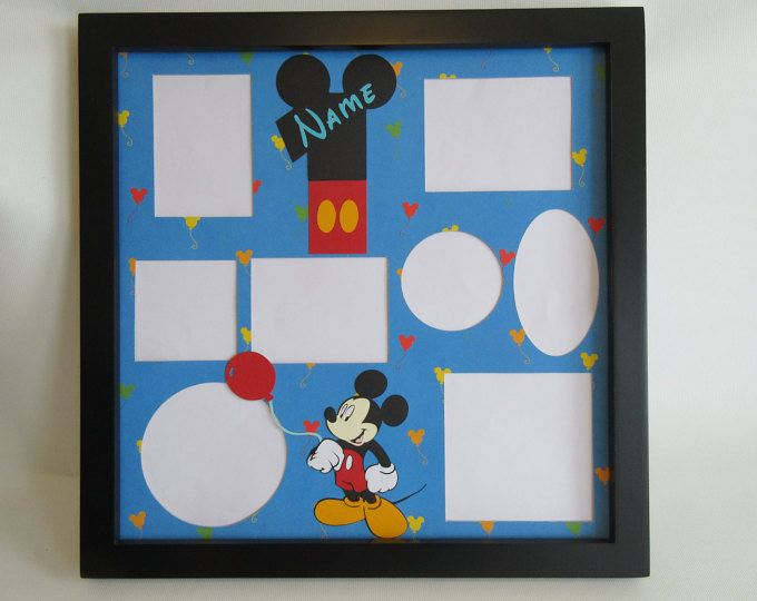Disney Themed Birthday Party Picture Frame Collage Photo Frames Mickey Mouse First Second Disney World Disneyland Multi Photo Decor Gift