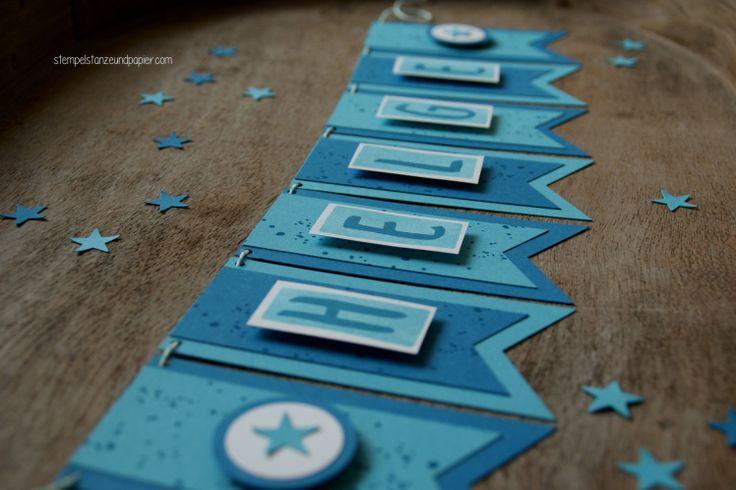 Wimpelkette mit Namen - Stampin' Up! - dreifach einstellbare Fähnchenstanze - Layered Letters Alphabet