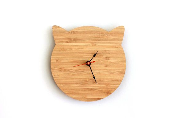 Cat Clock Cat Lover Gift for Birthday Walnut or Cherry by iluxo