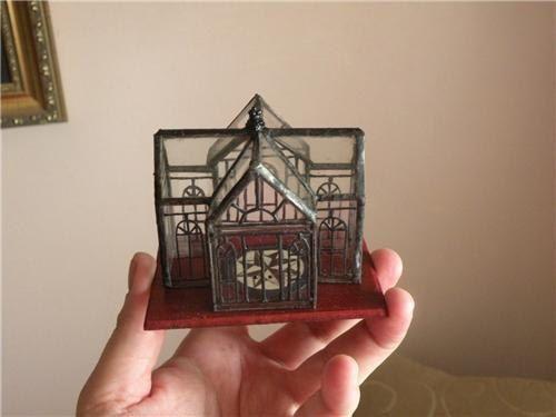 Dollhouse Miniature 1:12 Scale Artisan Made Tiny Leaded Glass Conservatory, Birdcage, or Terrarium. $85.00, via Etsy.