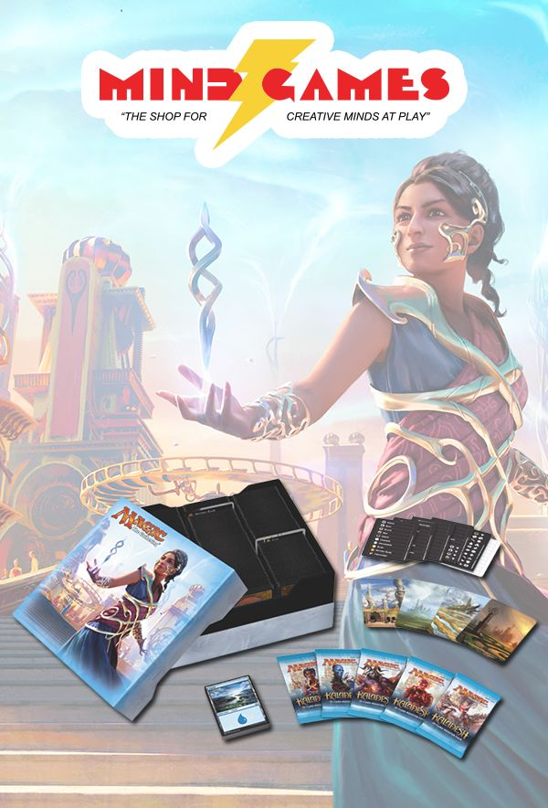 The Magic: The Gathering Kaladesh Gift Box is a storage box, useful to both beginners and thorough collectors, and is especially designed for non-Magic playing people who want to surprise their playing relatives. It can hold more than 2,000 Magic cards, comes with 5 booster packs from the Kaladesh set, a pack of twenty basic lands from the same set, six illustrated plastic dividers, a sticker sheet for customizing the dividers, and an exclusive card with alternate art.