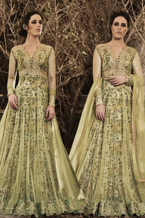 Light Olive Net Anarkali Churidar Suit with dupatta Online http://www.andaazfashion.co.uk/salwar-kameez/anarkali-suits