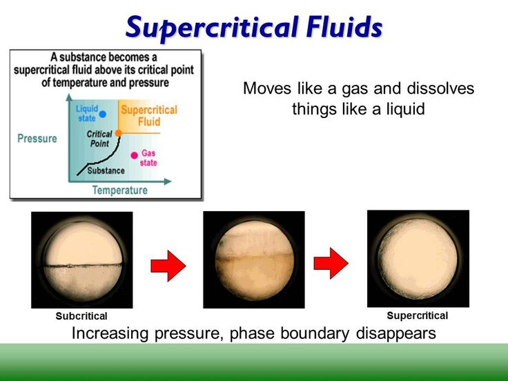 Taken from: http://advtechconsultants.com/SCFImage.jpg  Supercritical fluid extraction is used to extract essential oils from plants. A supercritical fluid is a compound that has reached a state where it is no longer a liquid or a gas but is a unique phase that can pass through things like a gas but dissolve things like a liquid.