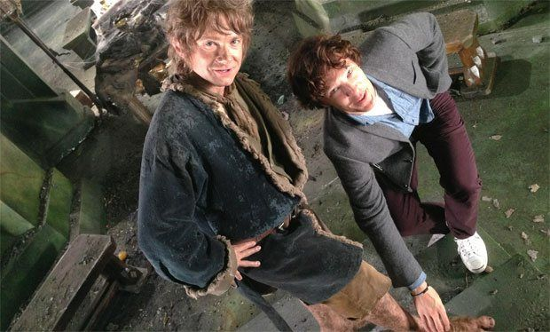 """""""Martin Freeman is joined by Benedict Cumberbatch as he hangs up the hobbit feet for the last time"""""""