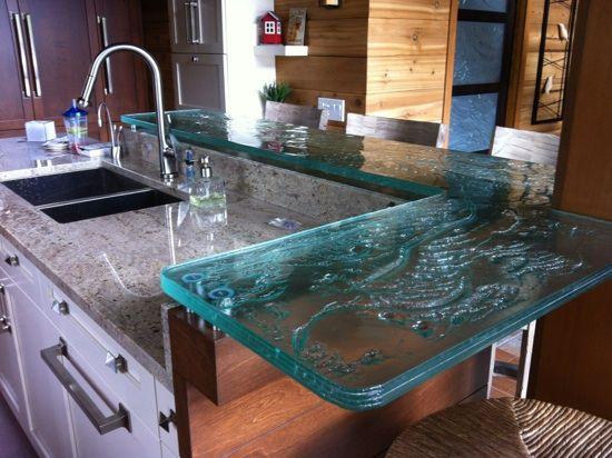 comptoir en verre thermoformé 1'' d'épais contour naturel.