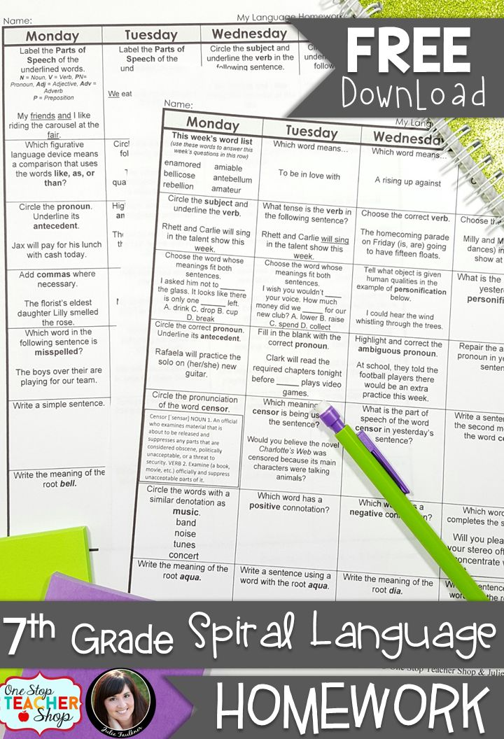 FREE 7th Grade Language Homework - Common Core Aligned- with answer keys - 2 Weeks FREE!
