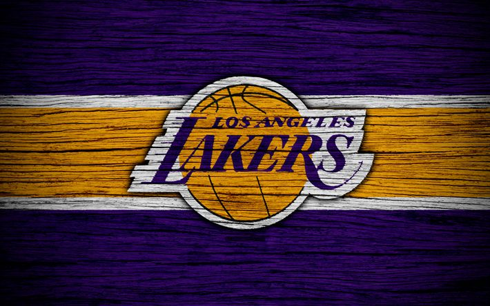 Download wallpapers 4k, Los Angeles Lakers, NBA, wooden texture, basketball, LA Lakers, Western Conference, USA, emblem, basketball club, Los Angeles Lakers logo