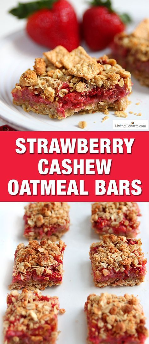 These Strawberry Cashew Oatmeal Bars are a tasty homemade breakfast bar! Easy recipe for breakfast made with fresh picked strawberries. Eat for a snack or put in your kids school lunch box. Good summer party treat. A delicious Cinnamon Toast Crunch cereal recipe made with whole grain. #sponsored
