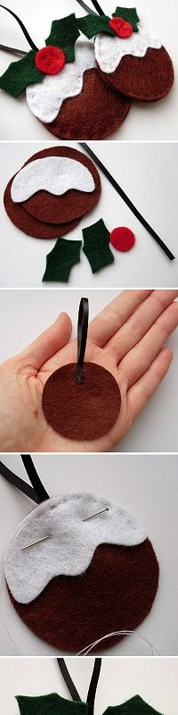 DIY Christmas Pudding Felt Ornament - FREE Pattern and Tutorial