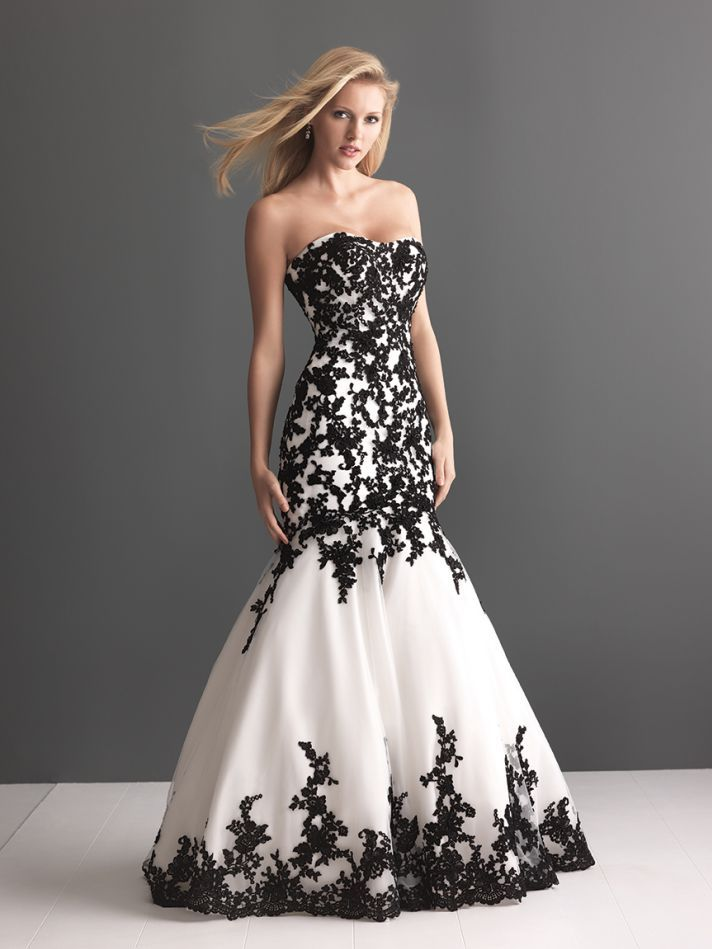 somehow the black lace on this allurebridals wedding dress is sweet romantic