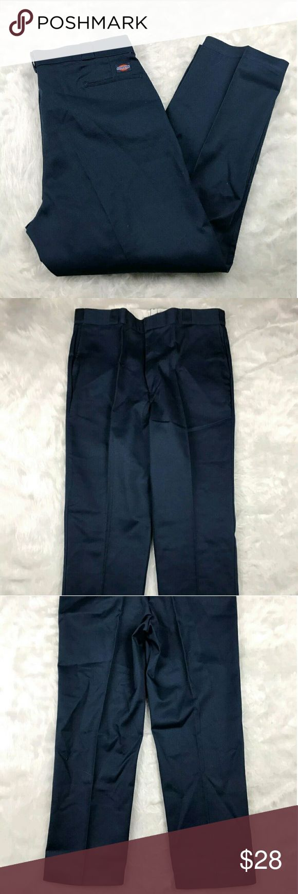 "Dickies Men's Khaki Pants Dickies navy blue pleated front khaki pants. Mens size 44X32. Gently used, without flaws. See pictures for details.  Waist laying flat - 21.5"" Rise - 15"" Inseam - 32""  Inventory 05232017 Dickies Pants Chinos & Khakis"