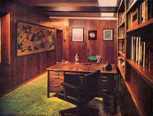 modern study room 1960...oh I am soooo claustrophobic just looking at this.