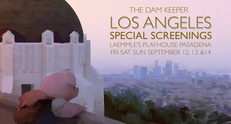 Friends in the LA area, help us fill the theater and spread the word!!!  Buy tickets to our special screenings here: http://www.laemmle.com/films/38541  The Dam Keeper is screening this weekend for three days, Friday, Saturday and Sunday at 1:00 and 1:20p each day at the Laemmle Playhouse 7 Theater in Pasadena!  We really appreciate the support, and hope you can make the show!