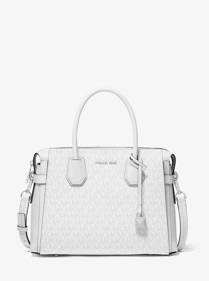 Michael Michael Kors Mercer Medium Logo Belted Satchel Handbags Michael Kors Women Handbags Timeless Bags