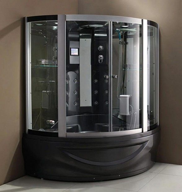 Modular Steam Shower Units Cabin With Black Colors - http://www.interiorzy.com/modular-steam-shower-units-cabin-with-black-colors.html