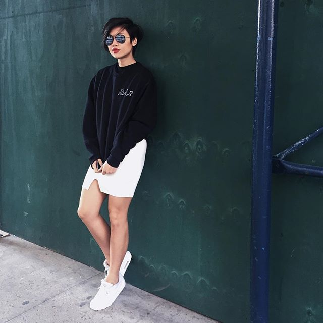 Pin for Later: 33 Outfits Every Petite Woman Should Try A Sweatshirt Over a Dress Paired With Sneakers