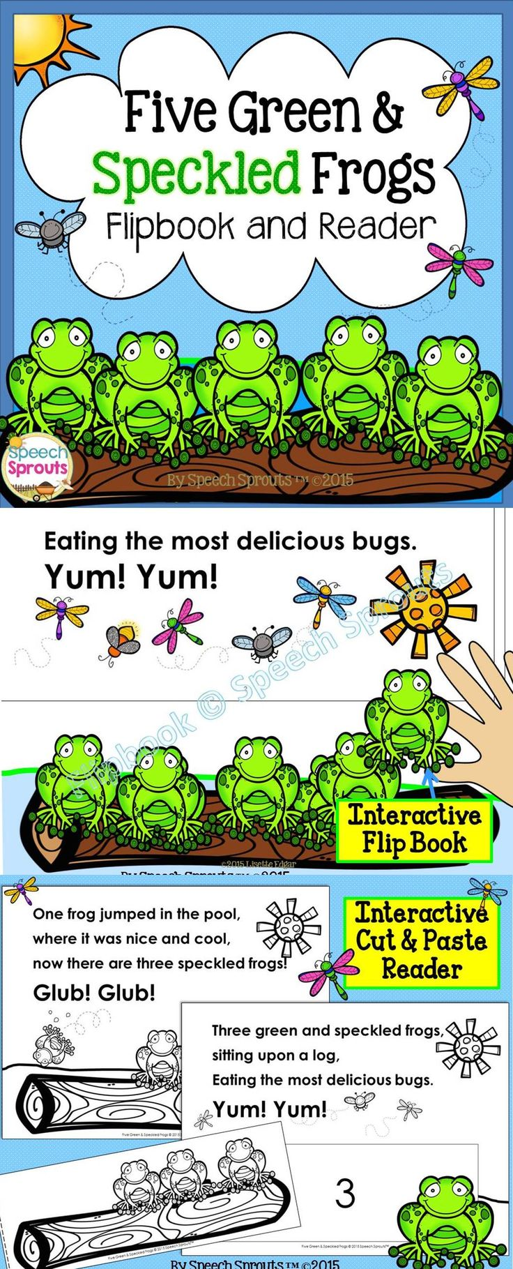 $ Count down as these adorable frogs jump into pond! Ribbit! Interactive with removable frogs and a fun cut and paste reader to teach story re-tell and rhyme.
