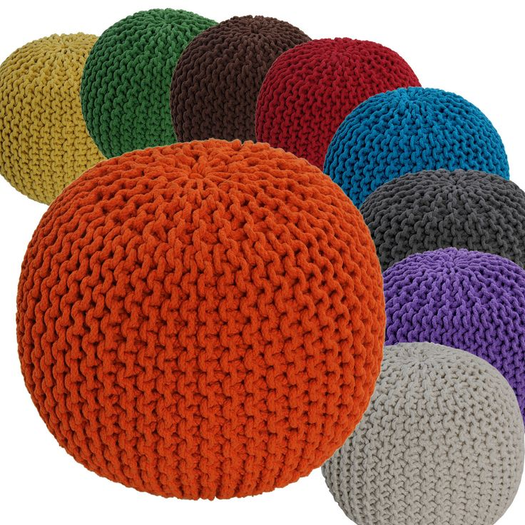 Hand Knitted Pouffes Round Sphere Chunky Footstools Ideal Decorative Seat Chair | eBay - in orange