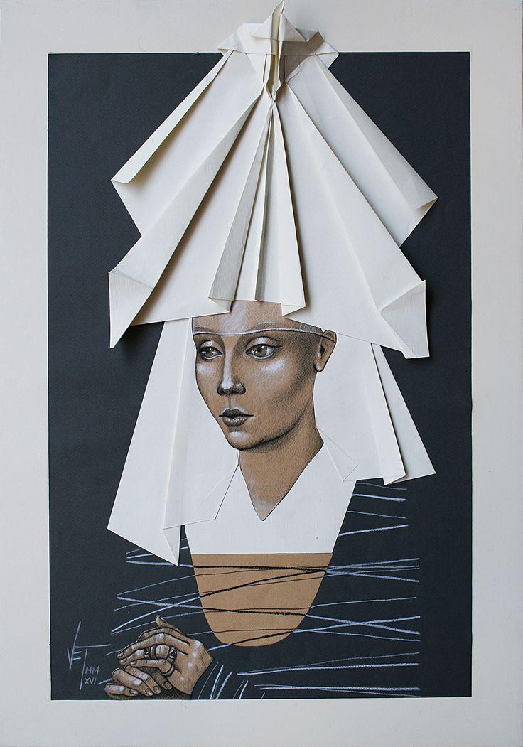 Vania Elelettra Tam - Origami Clitoridei -  falena - 2016 - 70x50 cm - tecnica mista su carta incollata su tela