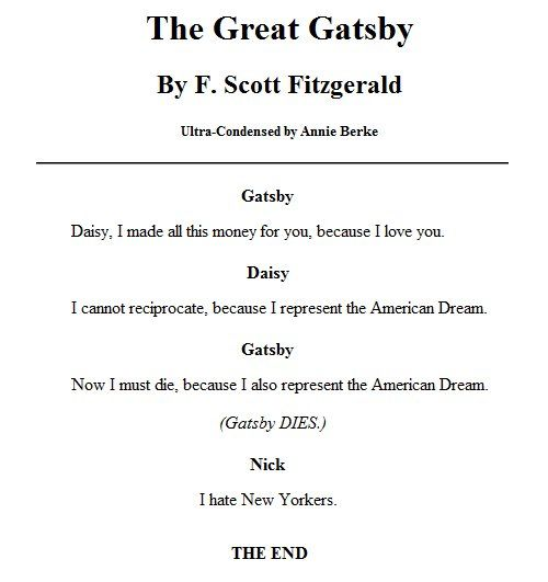 The Great Gatsby Spark Notes -- Yeah, that's about what it's like.