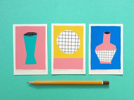 Mini Vase Cirkel Vase Triptych Screen Print by weareoutofoffice