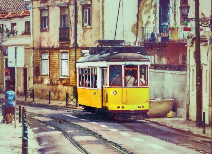 Old tram in Lisbon  by JCB Photogr@phics on @creativemarket
