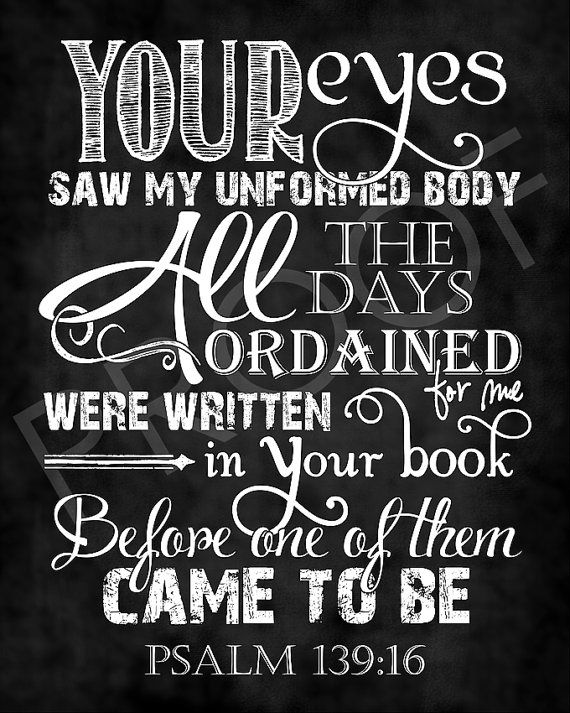 Scripture Art 139:16 Chalkboard Style by ToSuchAsTheseDesigns