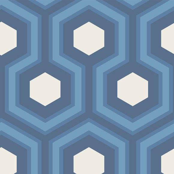 Papier peint géométrique bleu Hicks' Grand - Cole and Son - Au fil des Couleurs