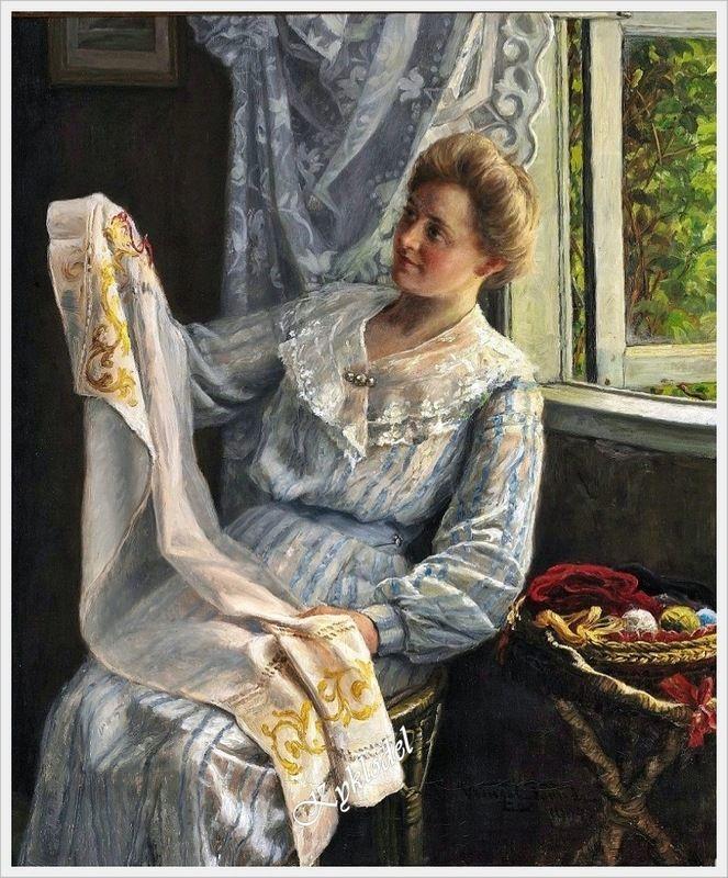 Akseli Gallen-Kallela (Finnish, 1865-1931) «Mary sewing in Kalela»