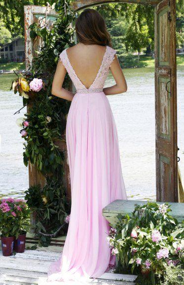 A-line Lace Bodice Sleeveless Chiffon V Back Coast Prom Dress with Crystal Band