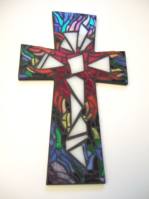 "Please ""LIKE"" The Green Banana Mosaic Company on Facebook:  www.facebook.com/pages/The-Green-Banana-Mosaic-Company/416081381842901  Mosaic Cross, Rainbow, 15"" x 9.25"" LARGE, Multicolored Handmade Stained Glass Mosaic Design"