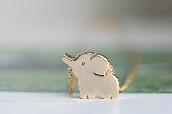 gold cute elephant necklaces,animal necklaces,girls necklaces  ,unique necklaces,beautiful necklaces,pretty necklaces,womens necklace via Etsy