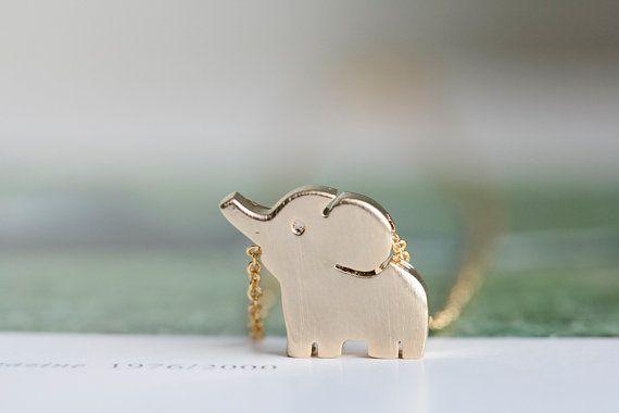 gold cute elephant necklaceanimal necklacegirls by LETTERSEARRING, $7.00