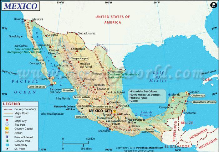 Mapa de México con nombres y capitales para descargar Gratis