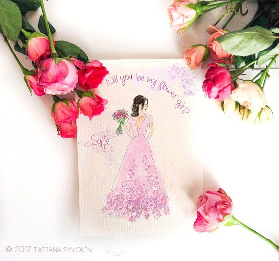 Will you be my flower girl card Printable Card Pink floral
