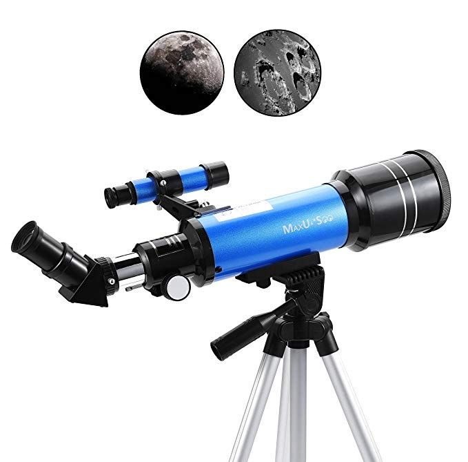 Maxusee 70mm Refractor Telescope For Kids Beginners Travel Scope With Backpack Adjustable Tripod For Moon Viewing Bird Wa Telescope Sightseeing Telescopes
