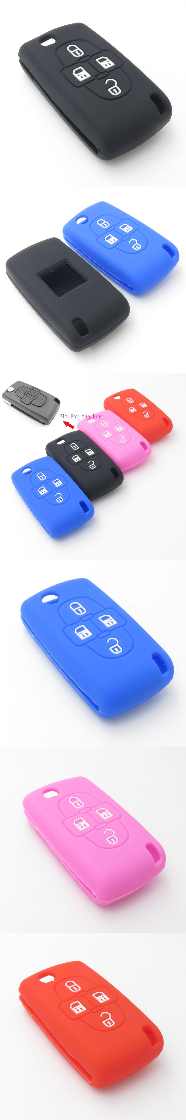 Silicone Car Key Fob Cover Case Skin For Peugeot Car Key 4 buttons For Peugeot 1007 807  Cocolockey