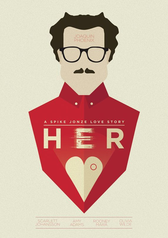 Alternative Her Poster - 'Her' is a genuinely good love movie. It's not the stereo-typical romantic film and is very thought provoking.