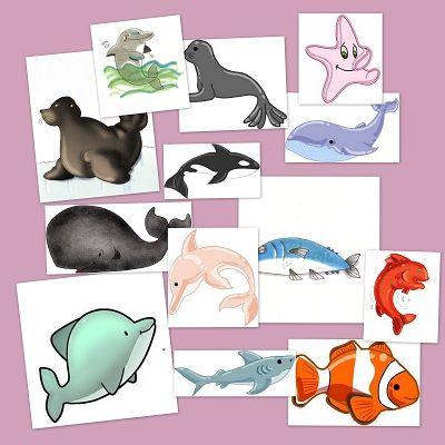Recursos para el aula: Animales marinos Animales marinos para crear collages, trabajos, etc en clase, podemos crear un ambiente marino, para enseñar los pe