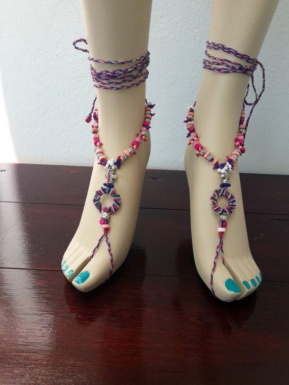 Spiral LOVE MANDALA BAREFOOT sandals foot jewelry hippie sandals toe anklet beaded crochet barefoot tribal sandal festival yoga yellow