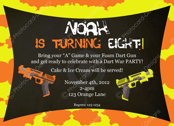 33 best boys nerf war birthday party invitations images on dart war party birthday invitation stopboris Images