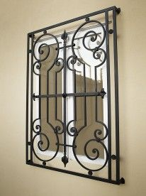 wrought iron outside window grills design - Google Search